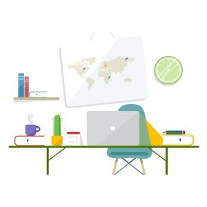 卡通温馨的办公桌矢量素材