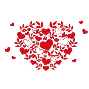 520红色卡通手绘爱心