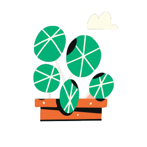 简约北欧风格绿色盆景矢量
