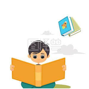矢量卡通扁平化读书儿童