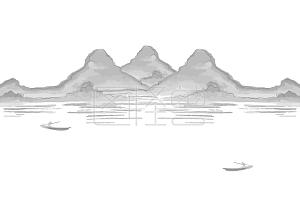 水墨画远方的山免抠下载