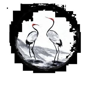 圆圈里的白鹤免抠png