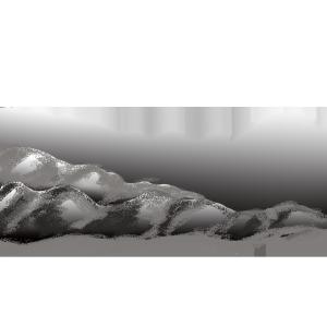 黑白画波浪山峰元素