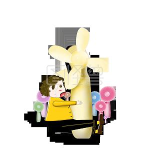 手绘男孩抱风扇PNG素材