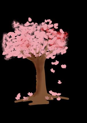 浪漫粉色花树PNG素材