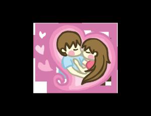 亲吻情人节爱心背景情侣PNG图片