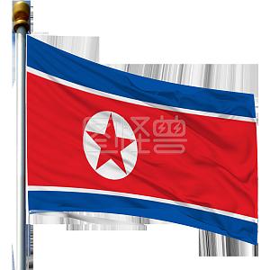 带旗杆的朝鲜国旗