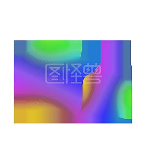 抽象线条流体渐变蘑菇云