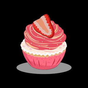 卡通手绘大颗草莓奶油杯子蛋糕