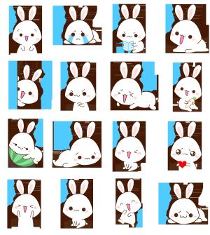 卡通手绘小白兔表情包套图