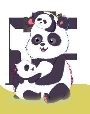 手绘卡通可爱动物熊猫