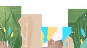 手绘卡通绿色叶子banner设计