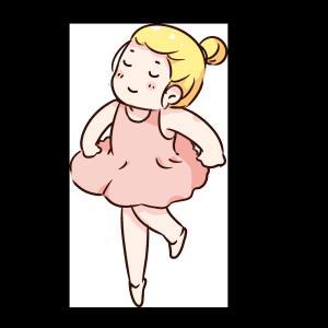 手绘卡通跳芭蕾的女孩