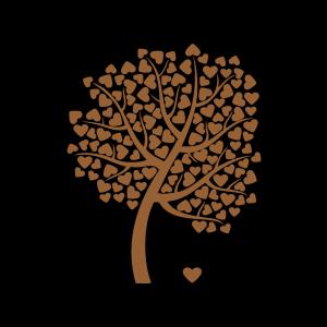 秋天的心型树叶树