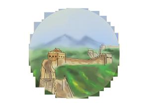 手绘古风彩绘长城