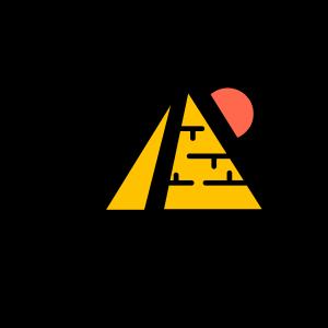 手绘卡通彩色旅游名胜金字塔