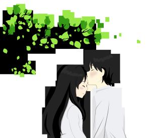 绿色情人节树下情侣