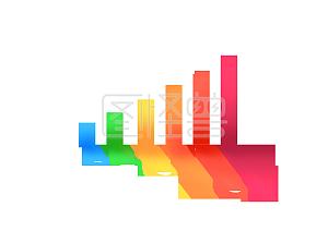 线性增长趋势图Q版彩色渐变柱状图