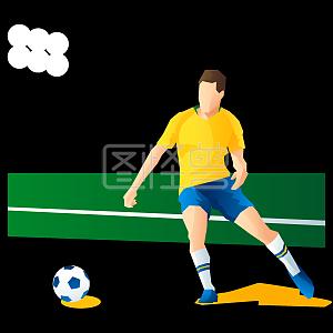 水彩足球员踢球主题