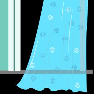 唯美半透明花纹窗帘矢量图