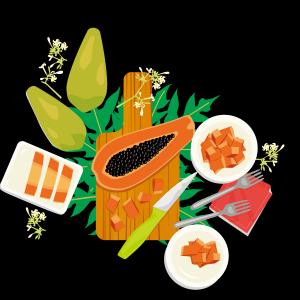 西餐美食木瓜水果