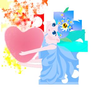 情人节花精灵抱心传递祝福卡通手绘彩色免抠图无背景