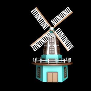3D荷兰风车 立秋PNG图片