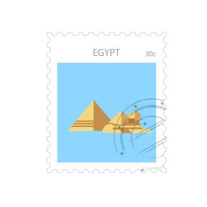 世界旅游金字塔纪念邮票矢量图