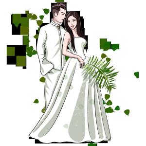 七夕情人节白色唯美卡通情侣