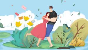 七夕节情人节情侣拥抱漫画