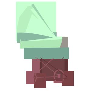 卡通绿色婴儿车psd源文件