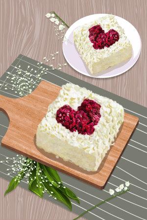 七夕情人节之心形蛋糕