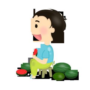 立秋小男孩吃西瓜png图
