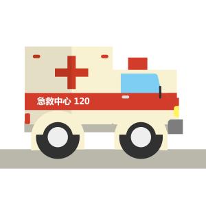 医疗红色扁平化救护车