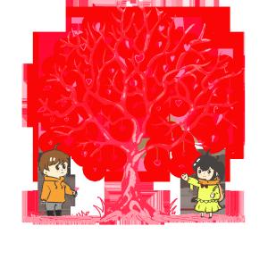 七夕情人节爱心树手绘PNG素材