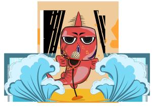 手绘恶搞唱歌的鱼