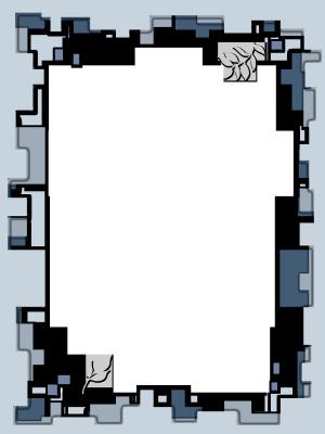 剪纸不规则蓝色风格边框