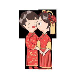 中式婚礼爱人夫妻亲吻