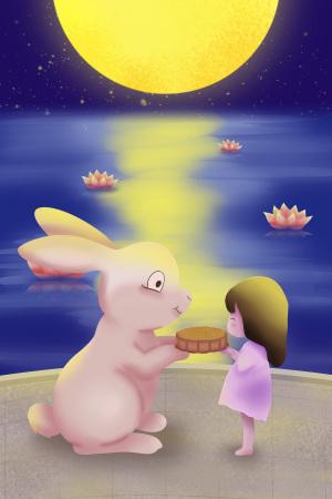 中秋节小女孩给兔子月饼吃