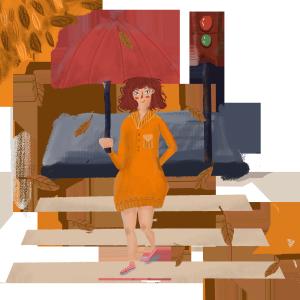 秋天美女马路红绿灯过斑马线遮阳伞PNG图