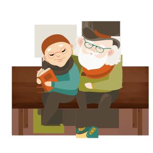 手绘时尚老年人情侣爱人