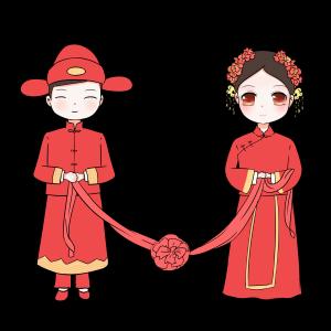 中式婚礼爱人夫妻手绘卡通