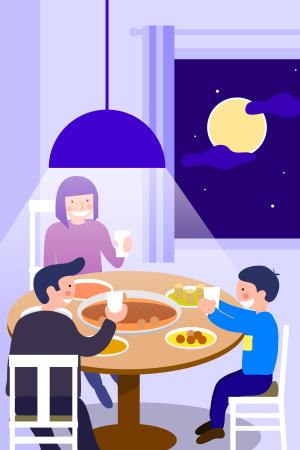 中秋节全家共享团圆之乐