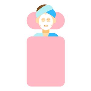 卡通手绘女性护肤美容敷面膜spa人物