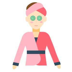 穿粉色衣服的卡通spa美容护肤女孩
