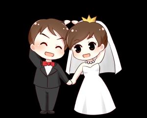 西式双人主题婚礼爱心动作PNG透明底千库原创
