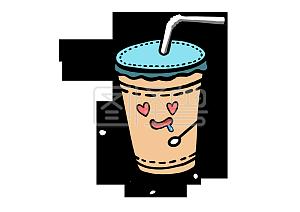 美食餐饮Q版奶茶流口水馋嘴免抠PNG