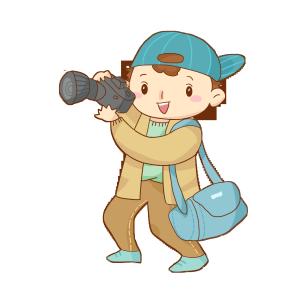 出游旅行旅途秋游背着背包拍照的男孩免抠PNG素材