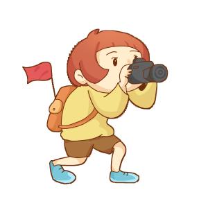 出游旅行旅途秋游背着背包拍照的女孩免抠PNG素材