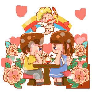 浪漫爱情卡通可爱